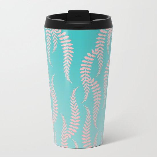 Pastel Leaves Metal Travel Mug