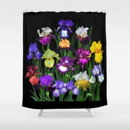 Iris Garden - on black Shower Curtain