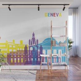 Geneva skyline pop Wall Mural