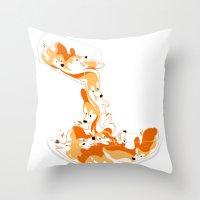 physics Throw Pillows featuring Liquid Physics Corgis by Anya McNaughton