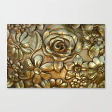Golden Rose Pattern Art Canvas Print