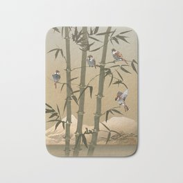 Sparrows And Bamboo Bath Mat