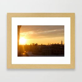 Manhattan in Butter Light Framed Art Print