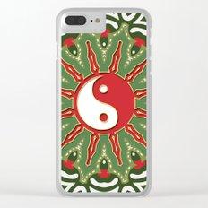 Red Yin Yang Sun Festive Mandala Clear iPhone Case