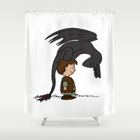 hiccup Shower Curtains featuring He's Your Dragon, Hiccup by mikaelak