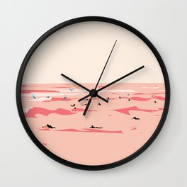 Sunset Tiny Surfers in Lima Illustrated Wall Clock