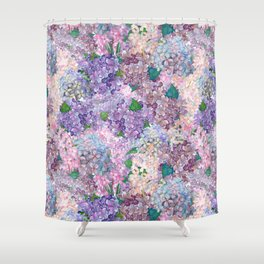 Purple and blue Lilac & Hydrangea - Flower Design Shower Curtain