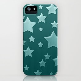 Teal Green Ombre Floating Stars and Herringbone iPhone Case