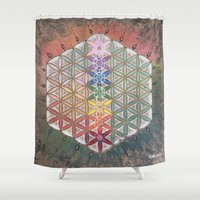 sacred geometry Shower Curtains featuring Sacred geometry chakras by Cyndi Sabido