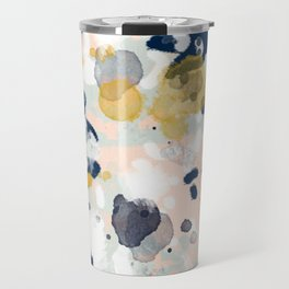 Noel - navy mint gold painted abstract brushstrokes minimal modern canvas art painting Travel Mug