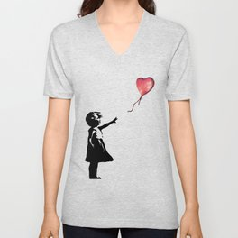 Banksy cosmic balloon Unisex V-Neck