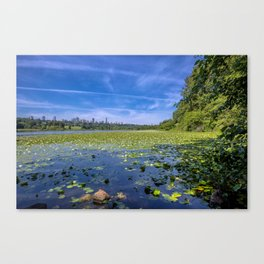 Forest lake in the city Canvas Print