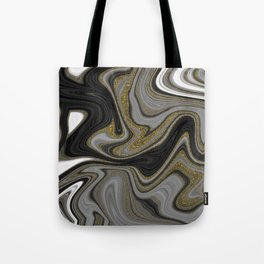 Agate Black Grey & Gold Tote Bag