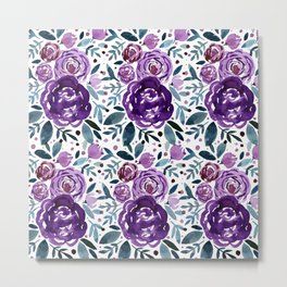 Watercolor roses bouquet - purple and green Metal Print