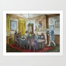 Steampunk Family Dinner Art Print