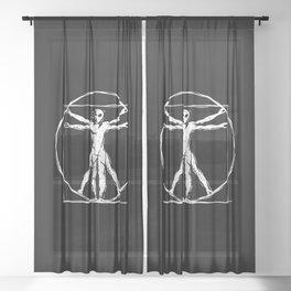 Da Vinci Vitruvian Alien Man Sheer Curtain