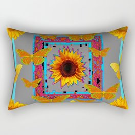 TURQUOISE SOUTHWEST ART YELLOW  BUTTERFLIES FLOWERS Rectangular Pillow