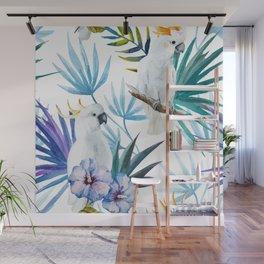 Tropical Cockatoo Watercolor Pattern Wall Mural