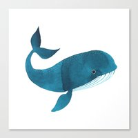 oana befort Canvas Prints featuring HAPPY WHALE by Oana Befort