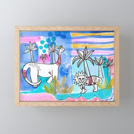 Unlikely Friends Painting - Lion Dinosaur Palm Trees Framed Mini Art Print