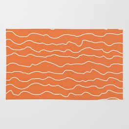 Orange with White Squiggly Lines Rug