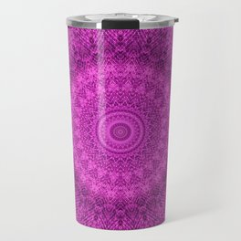 Sunflower Peacock Feather Bohemian Pattern \\ Aesthetic Vintage \\  Bright Fuchsia Pink Color Scheme Travel Mug