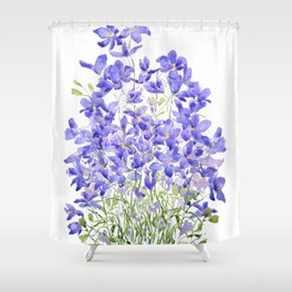 purple wild flower watercolor painting Shower Curtain