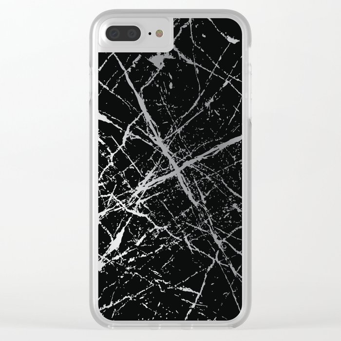 Silver Splatter 090 Clear iPhone Case