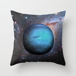 Planet Neptune Deep Space Telescopic Photograph Throw Pillow
