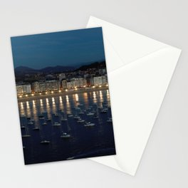 Night view of Donostia-San Sebastian. Spain. Stationery Cards