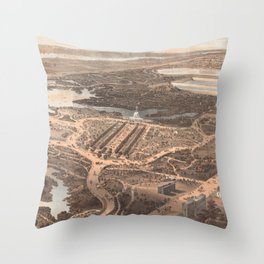 Vintage Pictorial Map of Central Park (1864) Throw Pillow