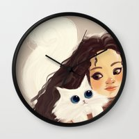 sister Wall Clocks featuring Sister by cennet kapkac