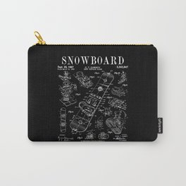 Snowboard Winter Snowboarding Vintage Patent Drawing Print Carry-All Pouch