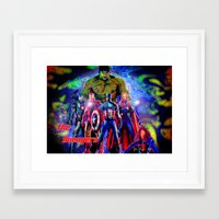 young avengers Framed Art Prints featuring  A vengers by JT Digital Art