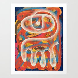 Mystical Third Eye Tribal Art Pattern by Emmanuel Signorino Art Print