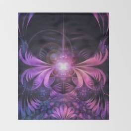 A Glowmoth of Resplendent Violet Feathered Wings Throw Blanket