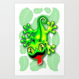 Gecko Lizard Baby Cartoon Art Print