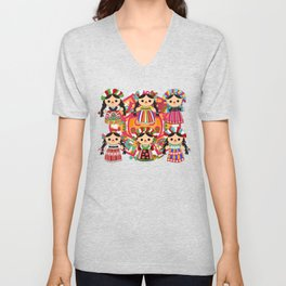 Mexican Dolls Unisex V-Neck