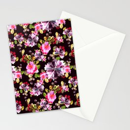 Watercolor floral bouquet on dark Stationery Cards