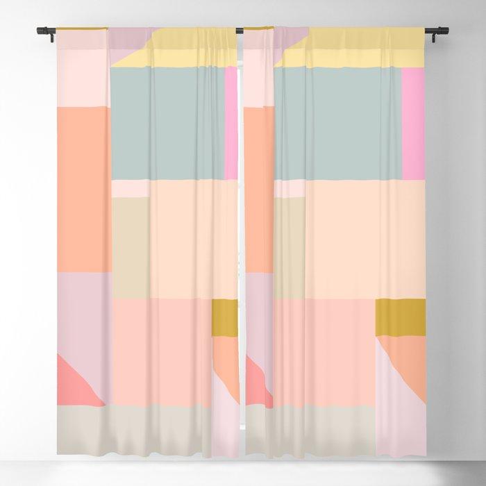 Pastel Geometric Graphic Design Blackout Curtain