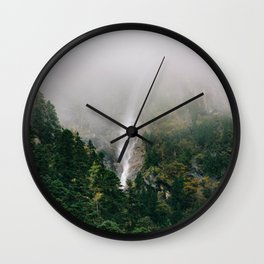 Misty Mountain Morning Wall Clock