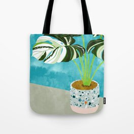 Variegated Monstera #tropical #painting #nature Tote Bag