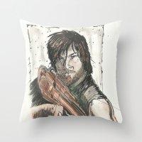 daryl dixon Throw Pillows featuring Daryl Dixon by Eric Dockery
