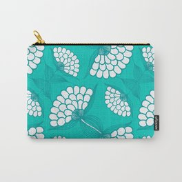 African Floral Motif on Turquoise Carry-All Pouch