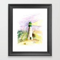 Lighthouse At Dusk Framed Art Print