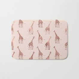 Girly Modern Rose Gold Blush Pink Giraffes Bath Mat