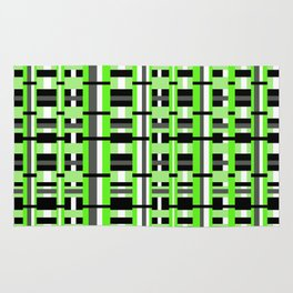 Plaid in Lime Green, Black & Gray Rug