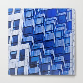 Architectural Abstract in Blue Metal Print