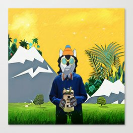 Wolf with the gift Canvas Print
