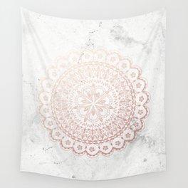 Rose gold mandala and grey marble Wall Tapestry